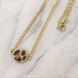 Leopard Print Fuzzy Circle Choker Gold Delicate